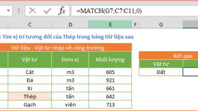 MATCH - Xác định vị trí của một giá trị trong Vùng dữ liệu