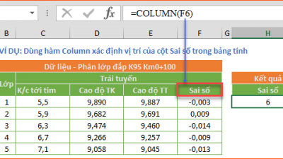 ROW và COLUMN - Hàm trả về số hàng và số cột của một tham chiếu