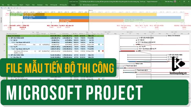File mẫu tiến độ thi công trên MS Project - Biểu đồ Gantt, biểu đồ nhân vật lực, khối lượng, dòng tiền