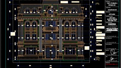 [BVTK] Bản vẽ thiết kế mẫu dinh thự tại Hà Nội (Full Kiến trúc, Kết cấu, Điện nước, Dự toán)