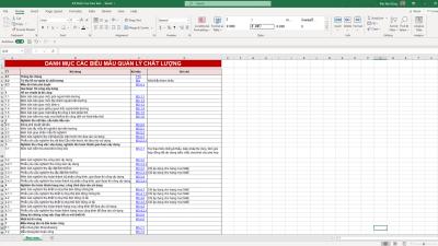 [HSCL] Danh mục biểu mẫu hồ sơ quản lý chất lượng - Dân Dụng