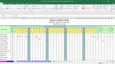 [Excel] Bảng chấm công