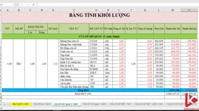 [Excel] Dự toán giá cửa nhôm