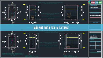 [BVTK] Mẫu nhà thiết kế nhà phố 3 tầng 4.2x11m ( Full )