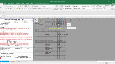 [Excel] Nhật kí thi công xây dựng