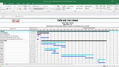 [Excel] Tiến độ thi công