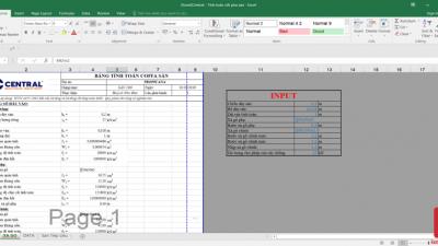 [Excel] Bảng tính cốt pha sàn Central